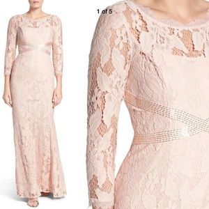 New Adrianna Papell illusion yoke lace gown blush